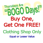 BOGO Thusday Buy One Get One FREE!